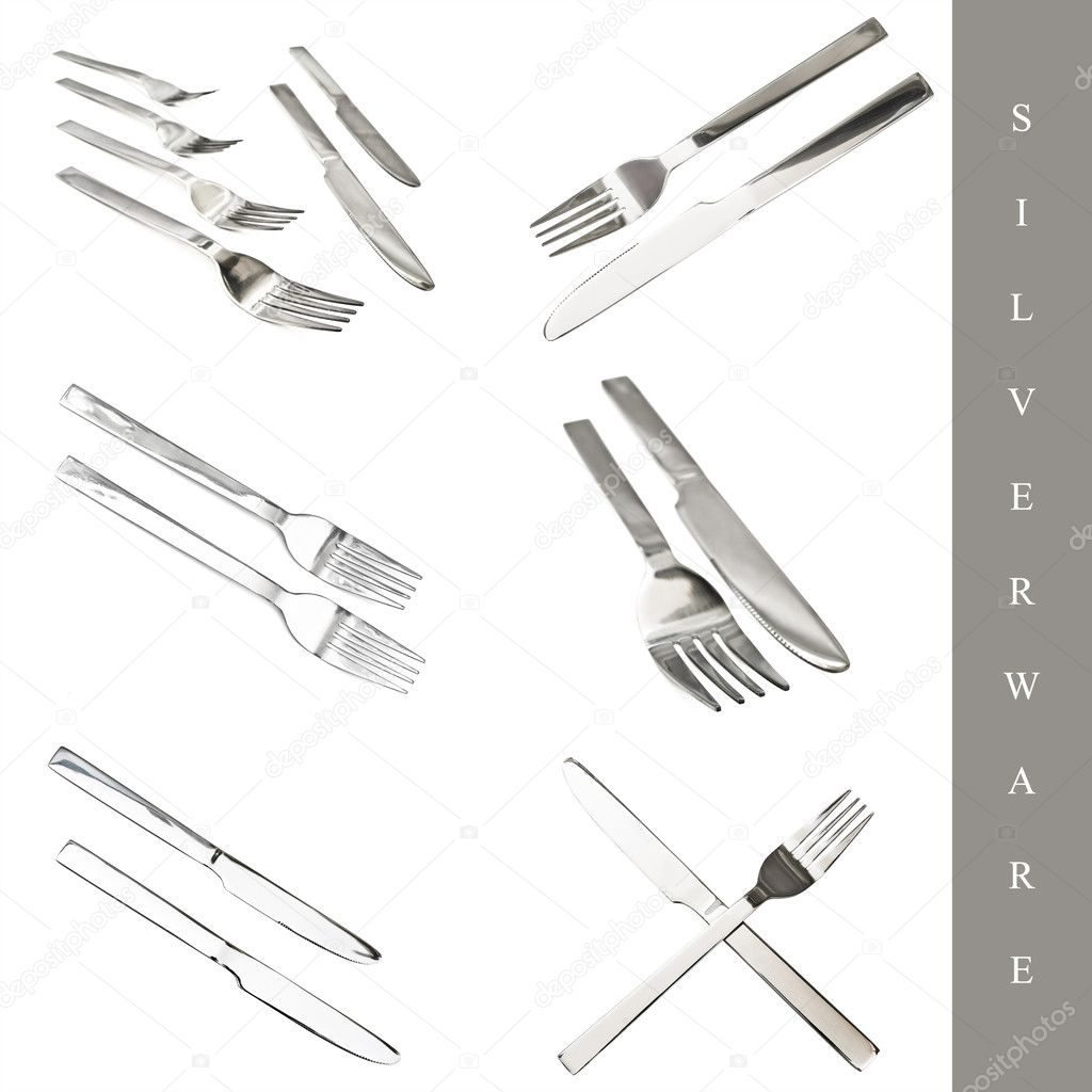 Set of kitchen silverware: knife and fork over white bckground — Stock Photo #3262000