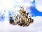Castle in clouds — Stock Photo