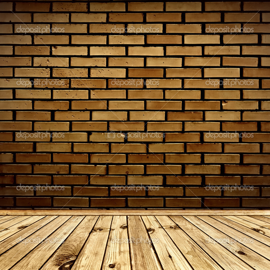Interior with brick wall and wooden floor  Stock Photo #3435744