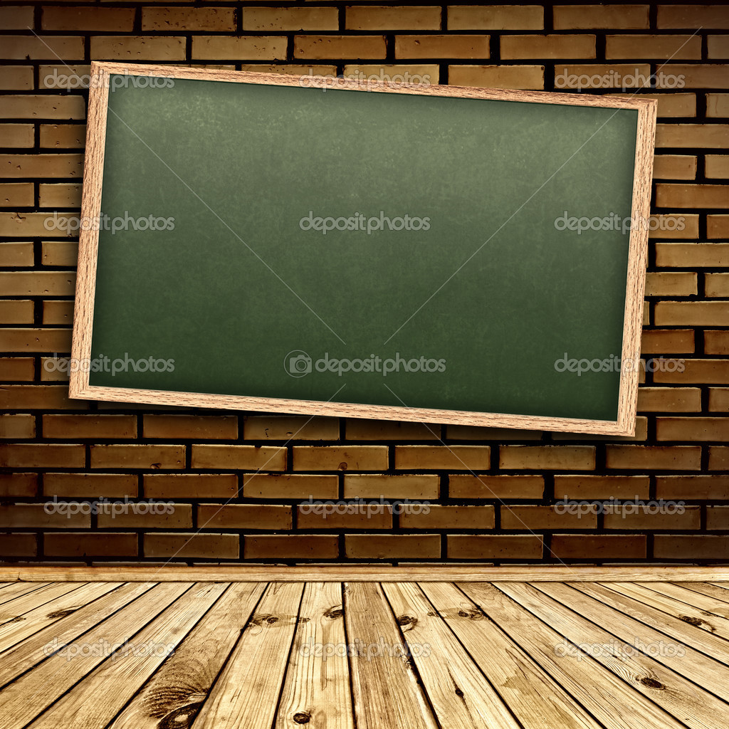 Empty school blackboard at brick wall in interior with wooden floor — Photo #3435814
