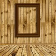Wooden interior with empty frames — Stock Photo