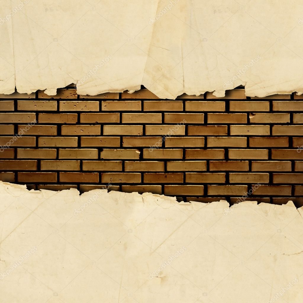 Vintage torn paper with copyspace for your text at brick wall — Stock Photo #3783377