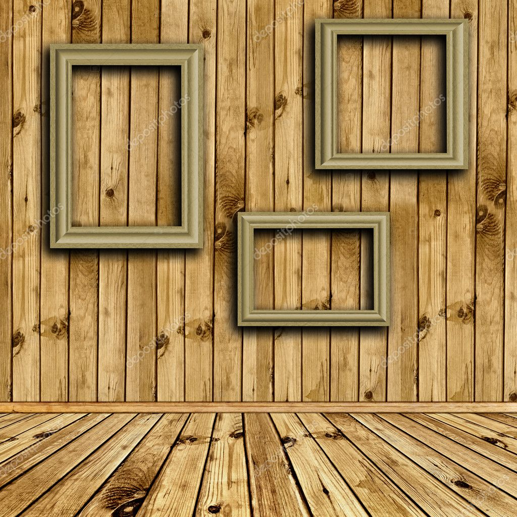 wooden interior with empty frames stock photo 3783522