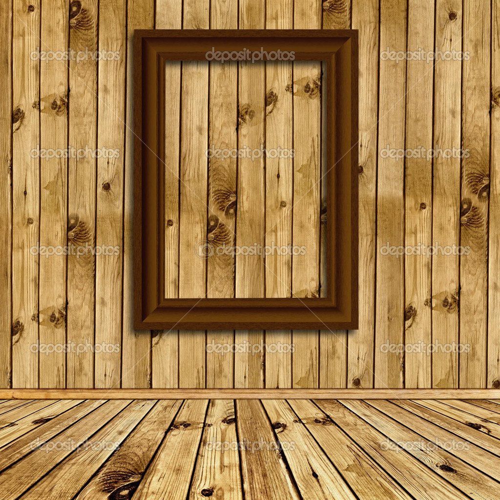 wooden interior with empty frames stock photo 3783532