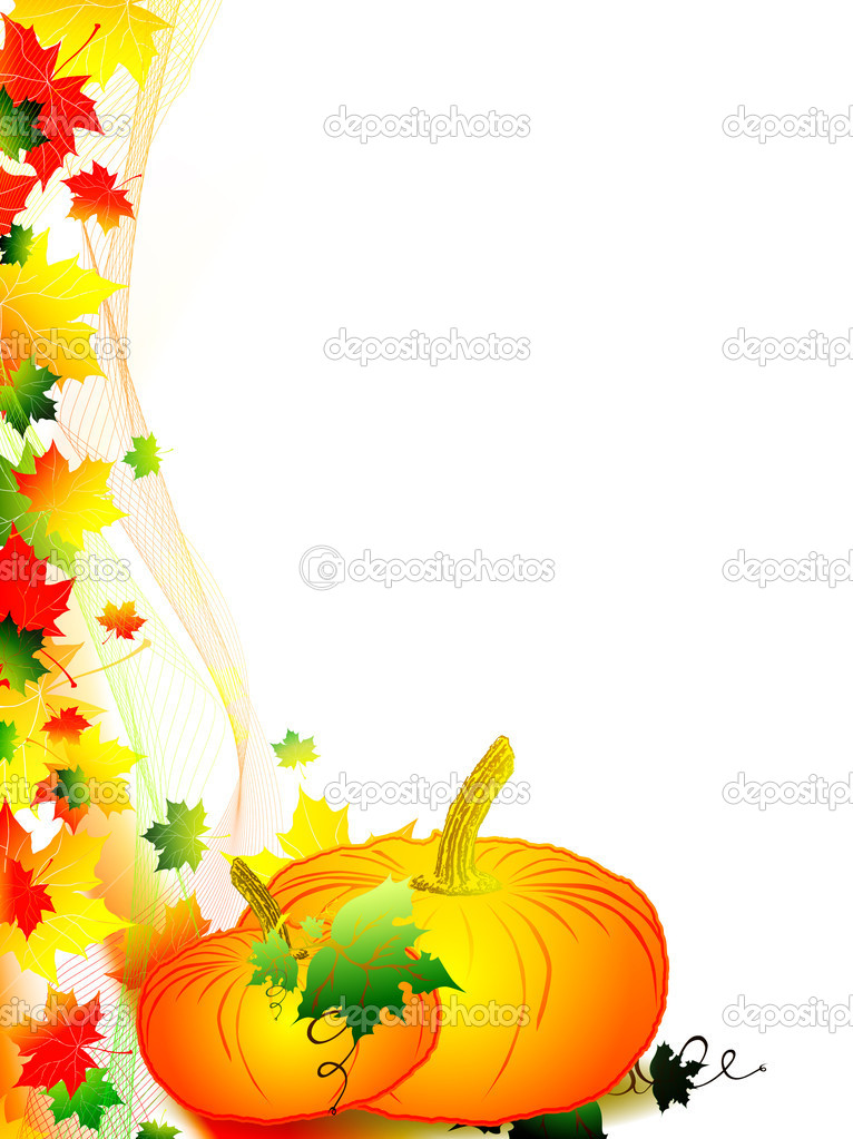 Autumn scenery with multicolored maple leaves and pumpkin with over white background — Stock Vector #3810272
