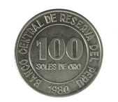 Coin. Hundred Soles de oro. Peru. Avers — Stock Photo