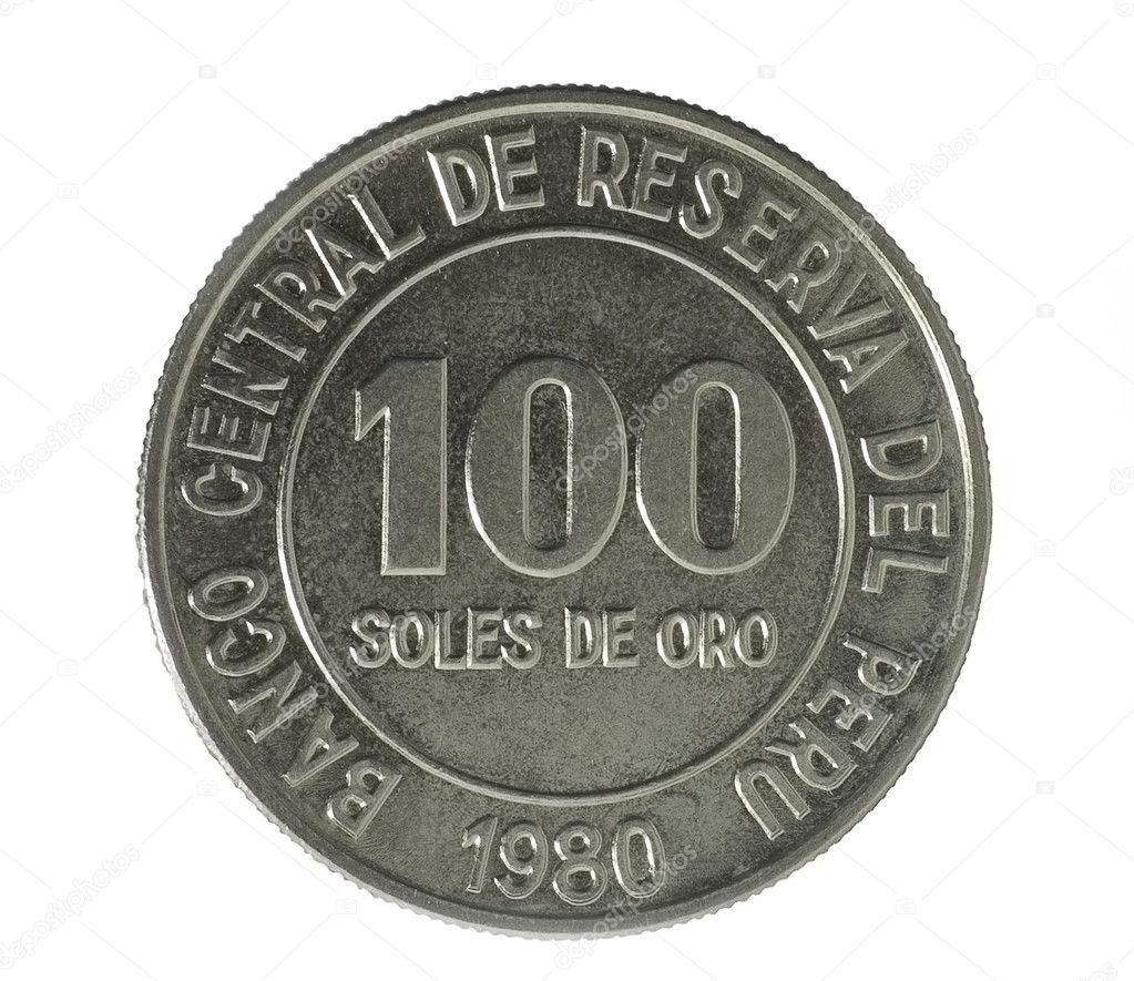 Coin on white background. Federal Reserve Bank of Peru. 1980 — Stock Photo #3257812