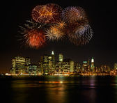 Firework over newyork city — Stock Photo