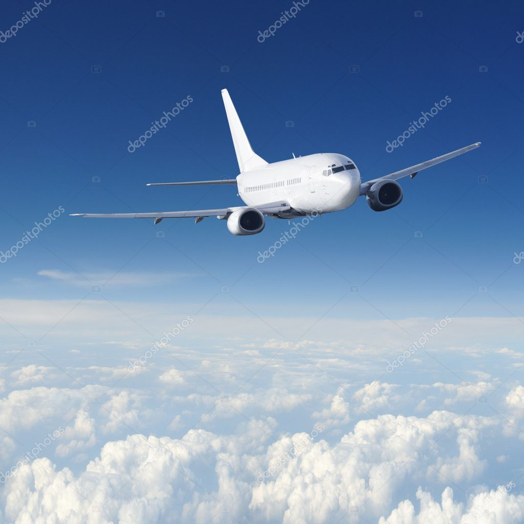 Airplane in the sky - color scheme on airplane is changed!!!  Stock Photo #3196058