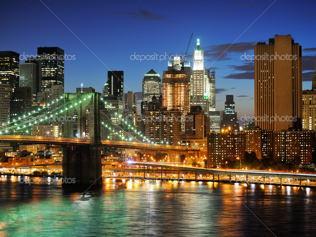 NYC after sunset new york manhattan at night  Lizenzfreies Foto #3196156