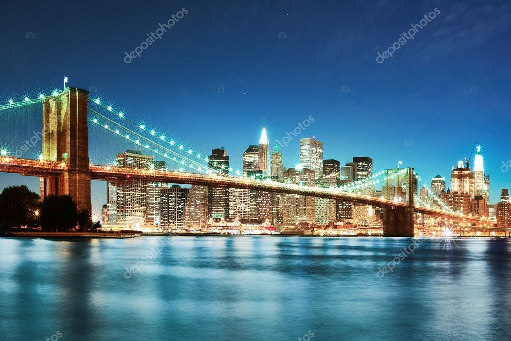 NYC after sunset new york manhattan at night — Stock Photo #3196241