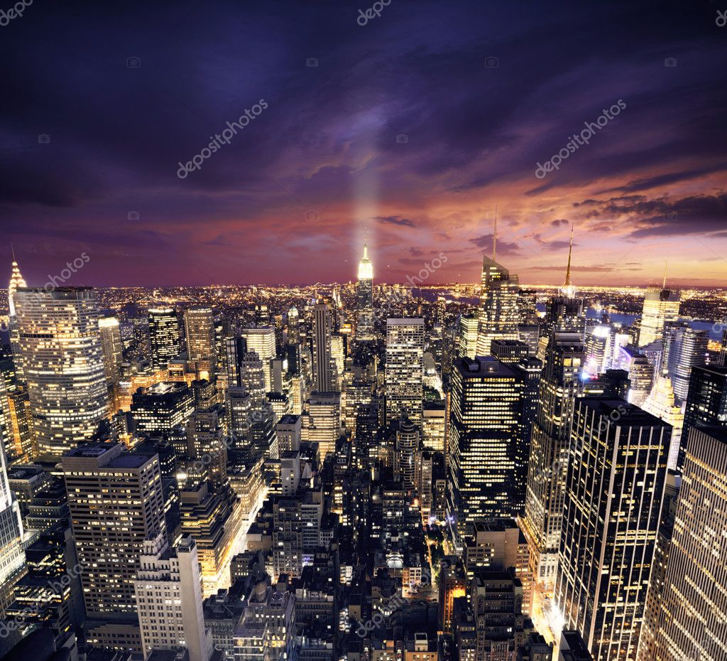NYC after sunset new york manhattan at night  Stock Photo #3196338