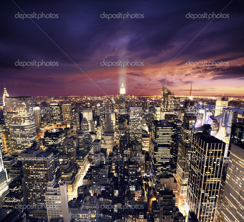 NYC after sunset new york manhattan at night — Stok fotoğraf #3196338