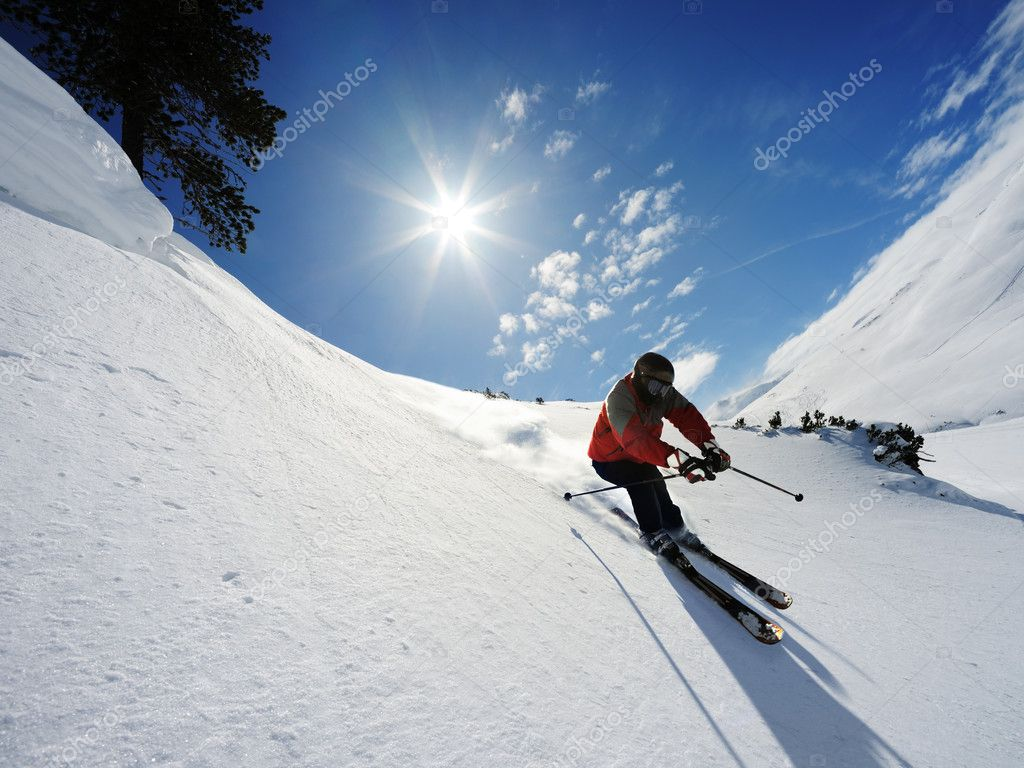 Jumping skier in the high mountains — Stock Photo #3196524