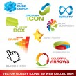 Collection of 3d web icons — Vettoriale Stock #2857574
