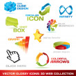 Collection of 3d web icons - Stock Vector