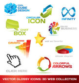 Collection of 3d web icons — Vettoriale Stock