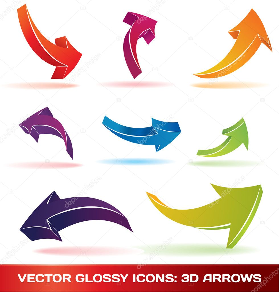 Colorful 3d vector arrows set for your artwork. — Stok Vektör #2857558