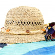 Hat with sunglasses and towel — Stok fotoğraf