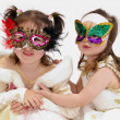 Two girls in costumes — Stock Photo