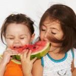 Girls eats watermelon — Stock Photo #2723462