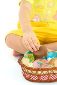 Easter eggs and chocolate chicken — Stock Photo
