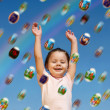 Stock Photo: Easter eggs rain