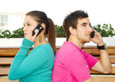 On the mobile phone — Stock Photo