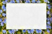 Abstrakte rahmen mit blauen blumen — Stockfoto
