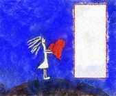 Illustration, frame with girl — Stock Photo