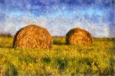 Two beautiful haystack — Stock Photo