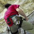 Climber rappeling — Stock Photo