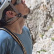 Climber previewing a route - Stock Photo