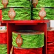 Red and green  Christmas ribbons - Stock Photo