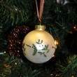 Christmas decoration whaite ball - Stock Photo