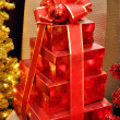 Christmas gift boxes - Stock Photo