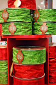 Red and green Christmas ribbons — Stock Photo