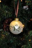 Christmas decoration whaite ball — Stock Photo