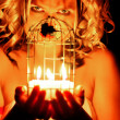 Woman with candles — Stock Photo