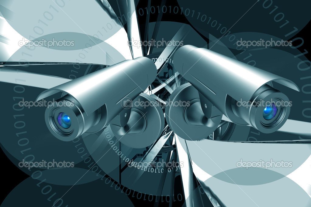 Highly quality rendering of  security camera in abstract background — Stock Photo #3253669