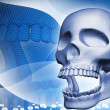 Digital illustration of skull in color background - Stock Photo