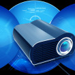 Digital illustration of Multimedia Projector in digital colour background — Stock Photo