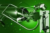 Digital illustration of oxygen cylinder in color background — Stock Photo