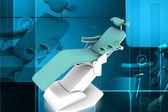 Digital illustration of dental chair in colour background — Foto de Stock