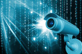 Highly quality rendering of security camera in abstract color background — Stock Photo