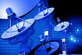 Highly quality of satellite dish in digital background — Stock Photo