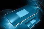 Renderizado 3d de semiconductor en fondo de color digital — Foto de Stock