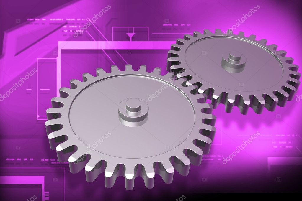 Digital illustration of gear in digital color background	 — Stock Photo #3560092