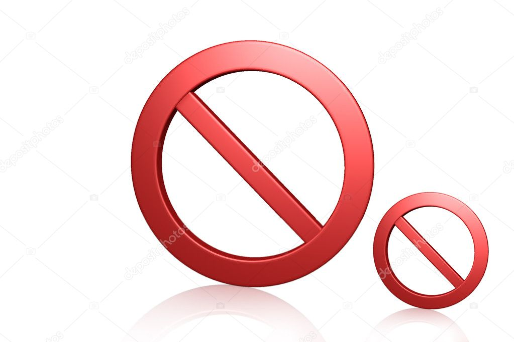 Red prohibition symbol in white background	  Stock Photo #3560175