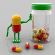 Pills and bottle — Stock Photo